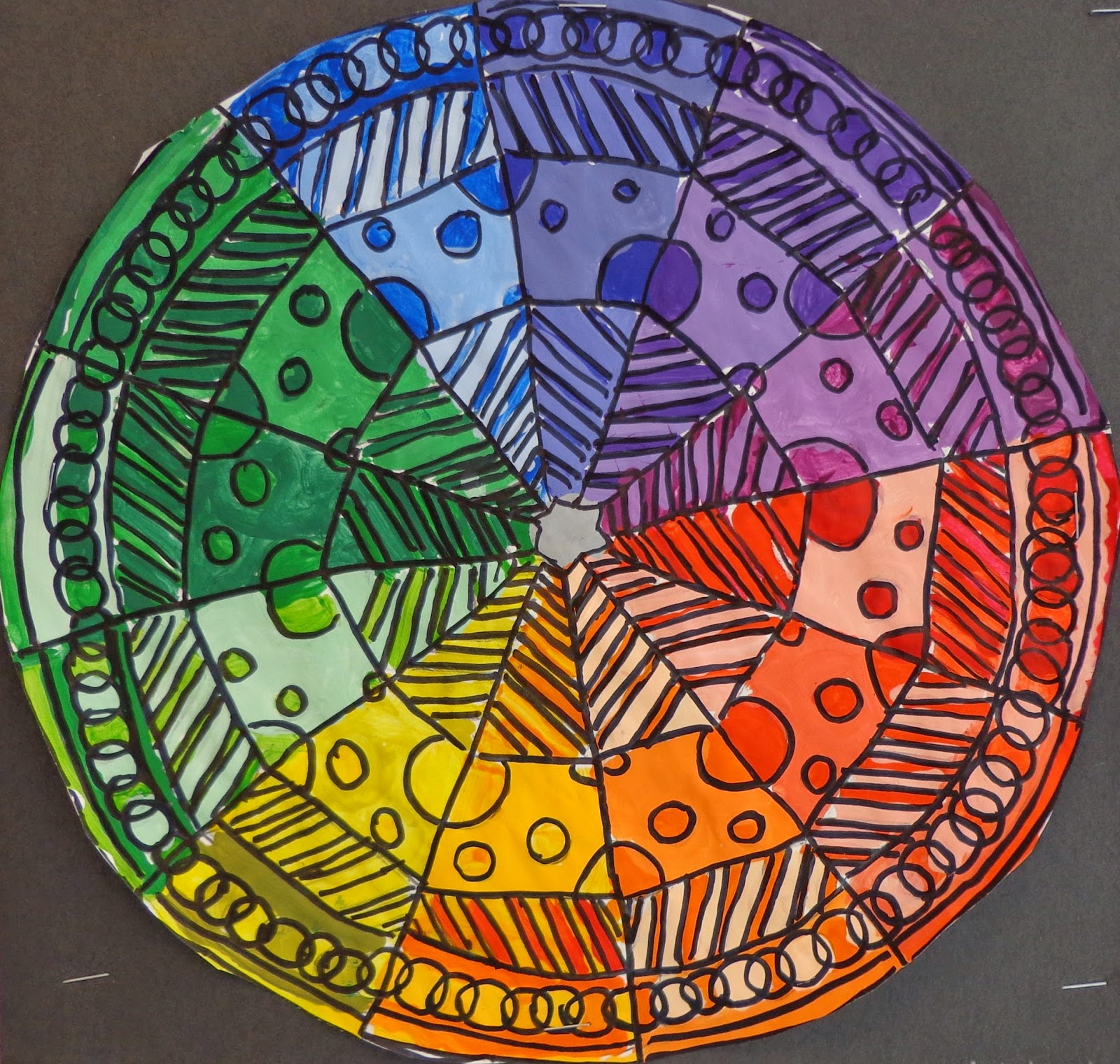 These Color Wheels Were Made By The Artists In Grades 7 And 8 We Began Creating A Design That Showed Radial Symmetry This Needed To Contain 12