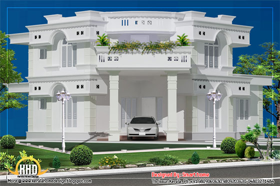 Duplex villa elevation design - 1882 Sq. Ft. (175 Sq. M.) (209 Square Yards)-  March 2012