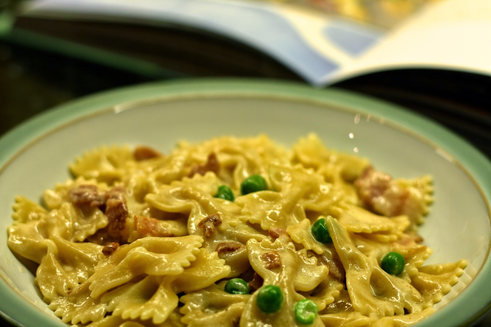 HALF A POT OF CREAM: Farfalle with Carbonara and Spring Peas