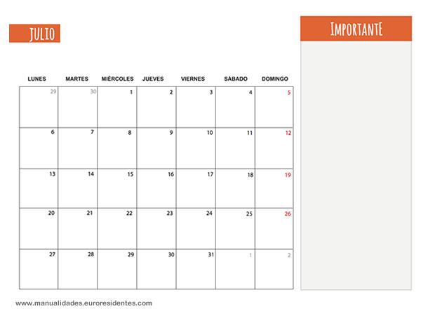 Calendario Mes de Julio 2014 Calendario Del Mes de Julio