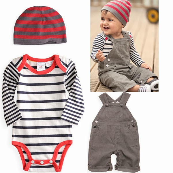 3Pcs baby boys Infant Baby hat+bodysuit+rompers Outfit Costume Size 0-36M