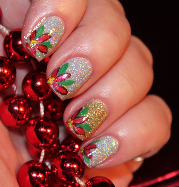 holiday poinsettia nail art - set