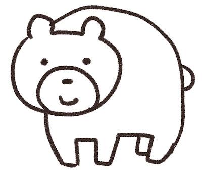 クマのイラスト(動物) 白黒線画