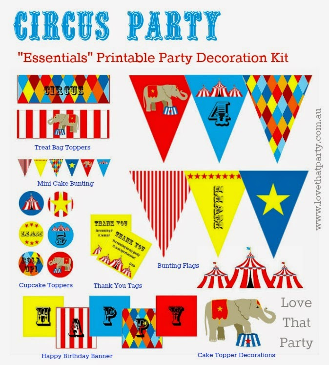 Personalised Circus Birthday Party Printable Decorations. Personalised with your child's name and age and emailed to you for printing by Love That Party. www.lovethatparty.com.au