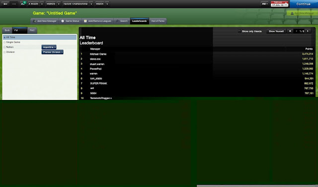 Leaderboard in Network Game mode Football Manager 2013