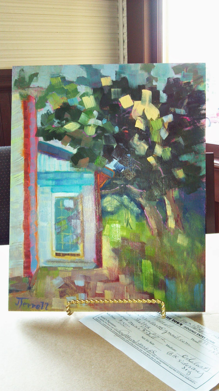 Shelter, a colorful original oil painting by Joan Terrell