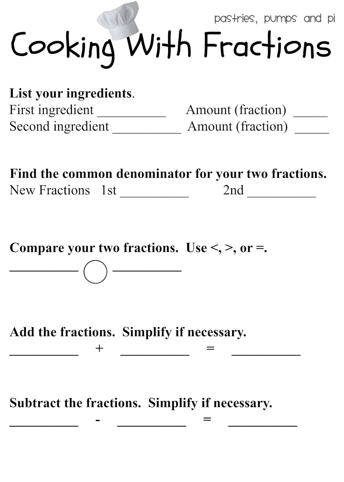 Math Recipe Worksheets cooking with fractions free printable – Cooking Math Worksheets