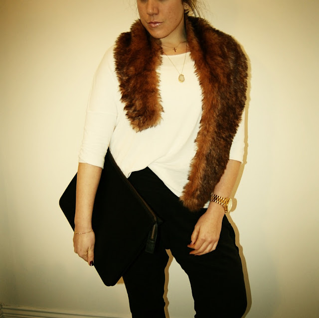 Faux fur stole and Topshop harem pants