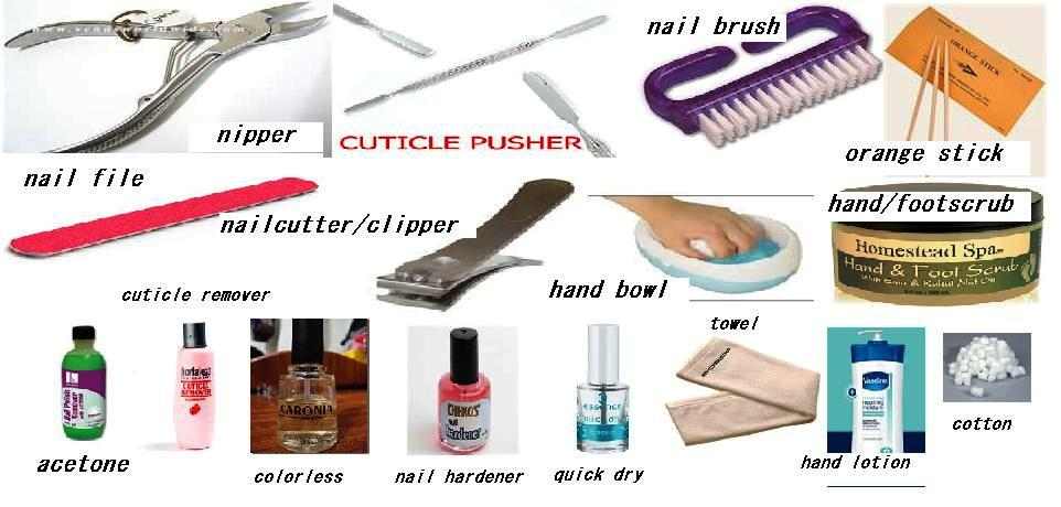 Nail Tools And Materials Needed For Mani Pedicure