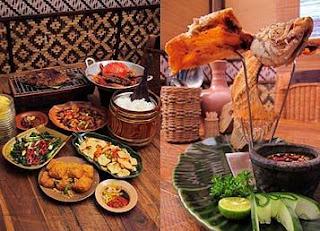 menu makanan di restoran raja sunda