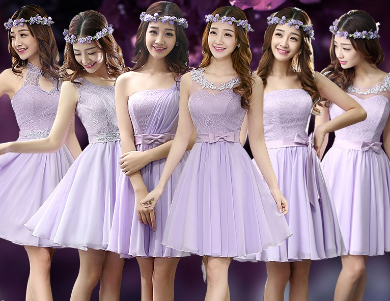 6-Design Soft Lavender Angelic Bridesmaid Midi Dresses
