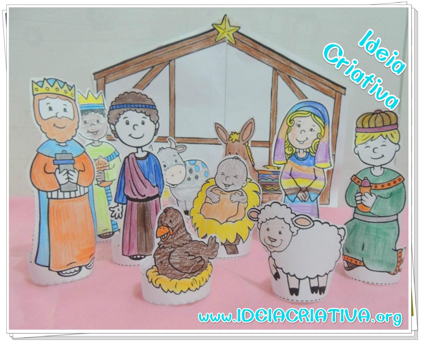 Presépio Natalino para  Colorir Recortar e Montar Natal Cristão para Educação Infantil