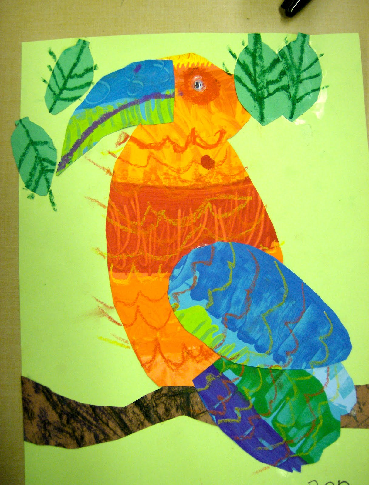 Zilker elementary art class 1st grade eric carle collages for Birds project