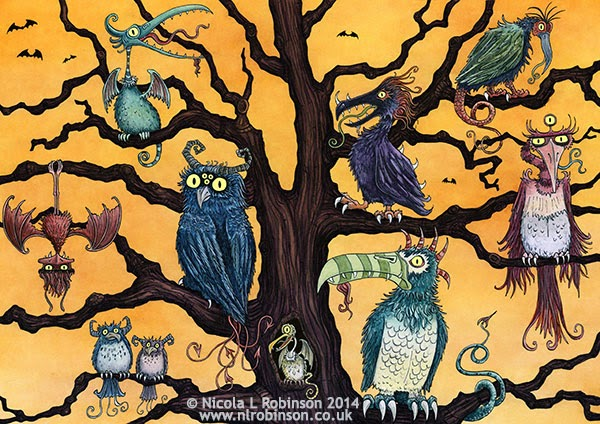 Tree of monster birds illustration - © Nicola L Robinson 2014 www.nlrobinson.co.uk