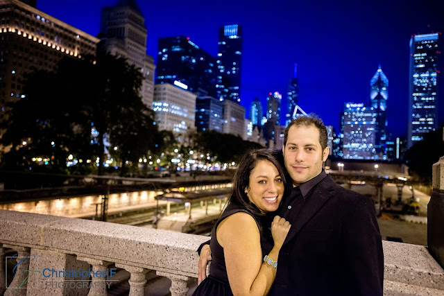 Downtown Chicago Engagement Photo Night