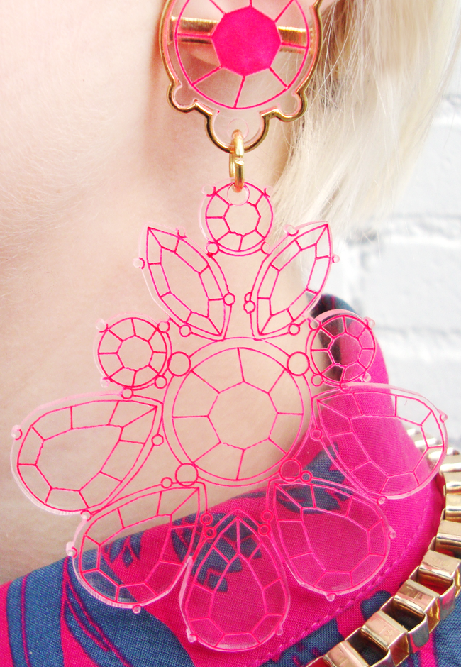 kanokkorn lamlert, pink statement earrings, perspex earrings