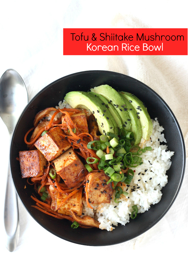 Korean Tofu & Shiitake Mushroom Rice Bowl recipe by SeasonWithSpice.com