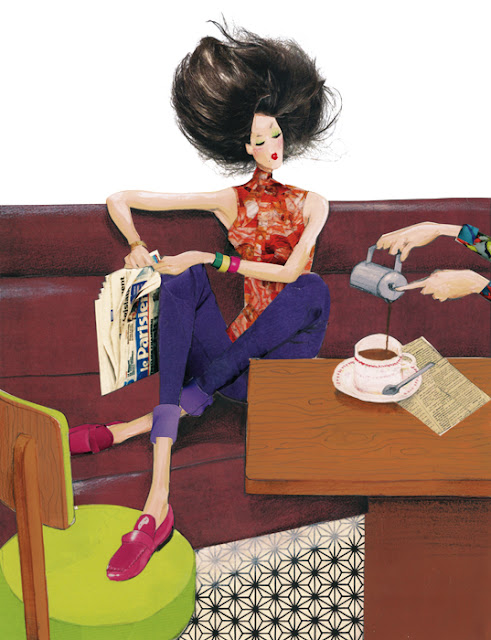 illustration fashion woman  paris cafe newspaper relax hair