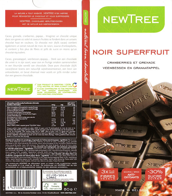 tablette de chocolat noir gourmand newtree noir superfruit cranberries et grenade