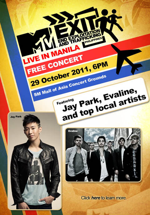 End Exploitation and Trafficking, MTV EXIT FREE CONCERT LIVE IN MANILA, Free Ticket, Free concert