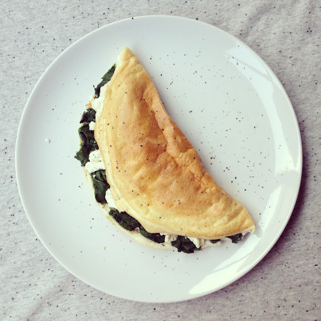 omelette soufflée épinards feta