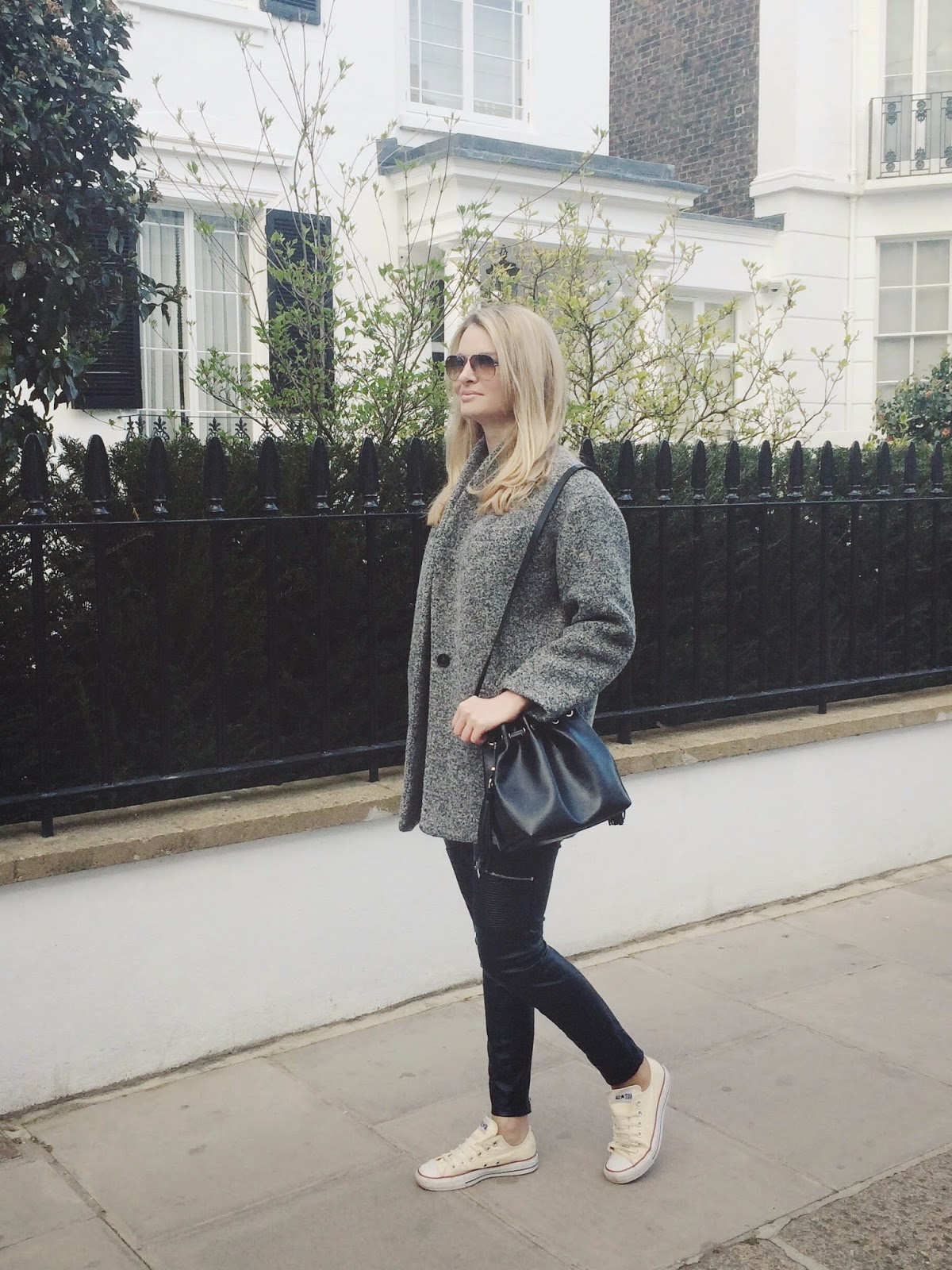 bucket bag, duffle coat, leather pants, grey coat, converse, streeststyle, london blogger