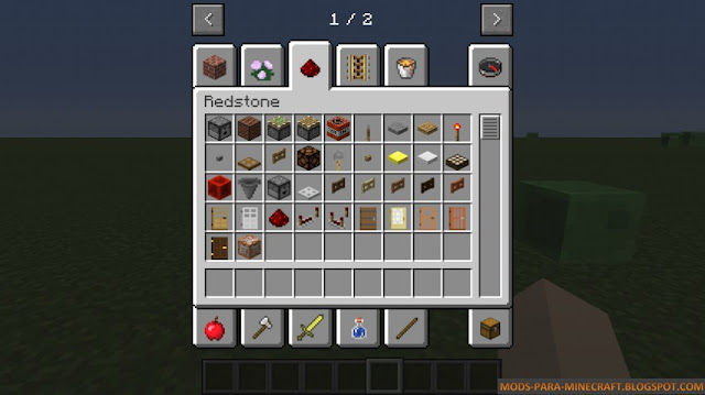 En esta otro imagen vemos que el bloque de comandos en el menú del modo creativo
