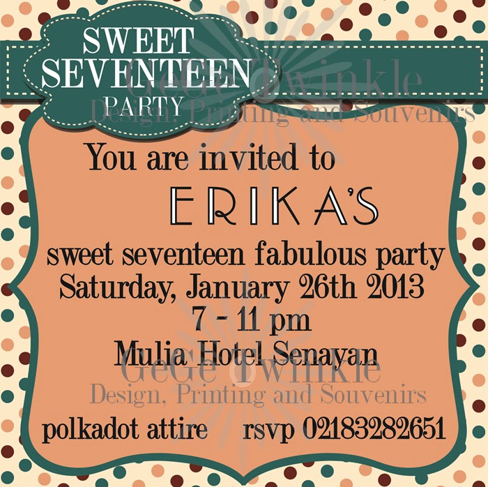 Gege Twinkle UNDANGAN SWEET SEVENTEEN - Contoh invitation card sweet seventeen birthday party