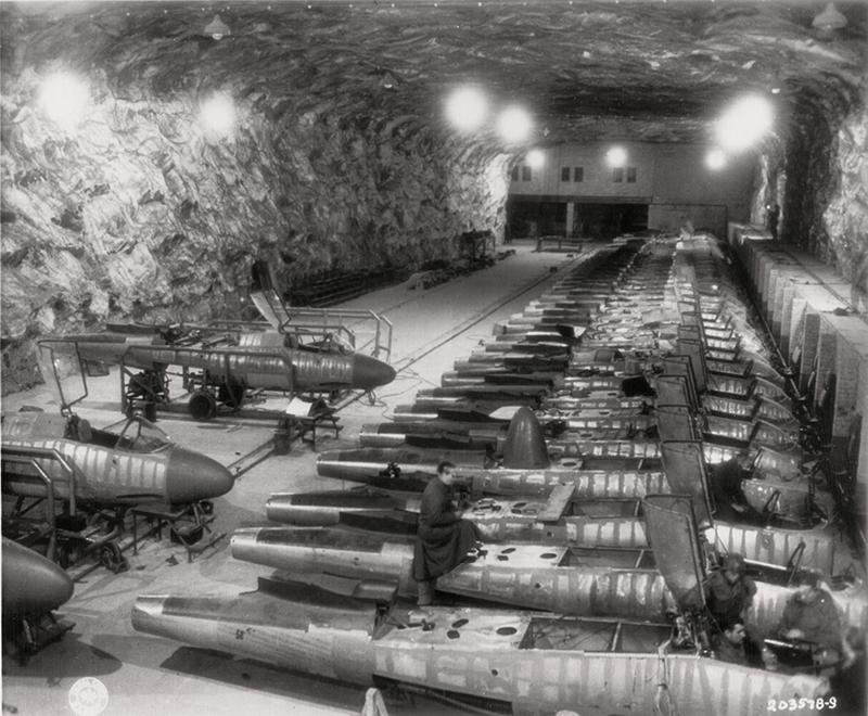 36 Amazing Historical Pictures. #9 Is Unbelievable - Underground German Heinkel 162 aircraft development facility WWII era