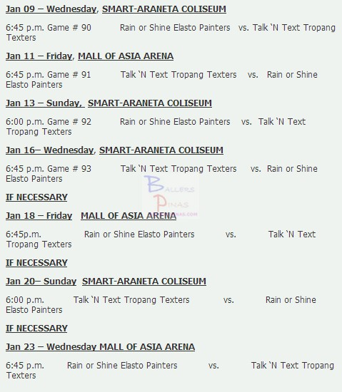 PBA Season 38 Philippine Cup Finals Schedule Talk 'n Text vs. Rain ...
