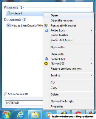 Snapshot of Notepad to Shut Down a Windows running Computer forever