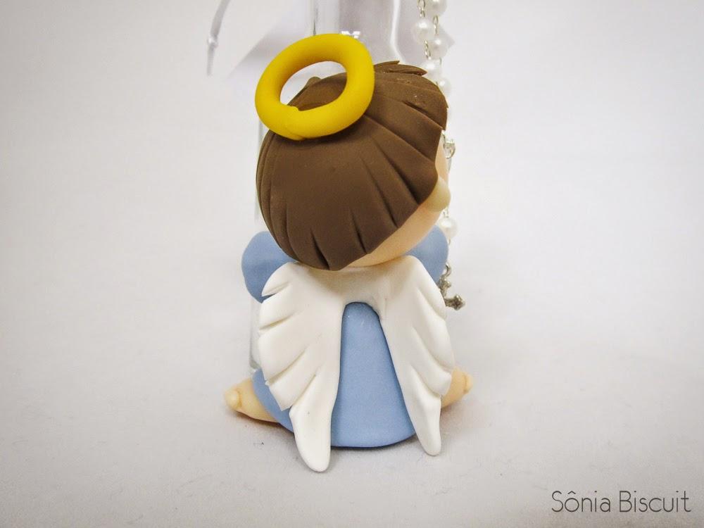 Lembrancinha de Batizado, Anjinho, Garrafinha, Biscuit