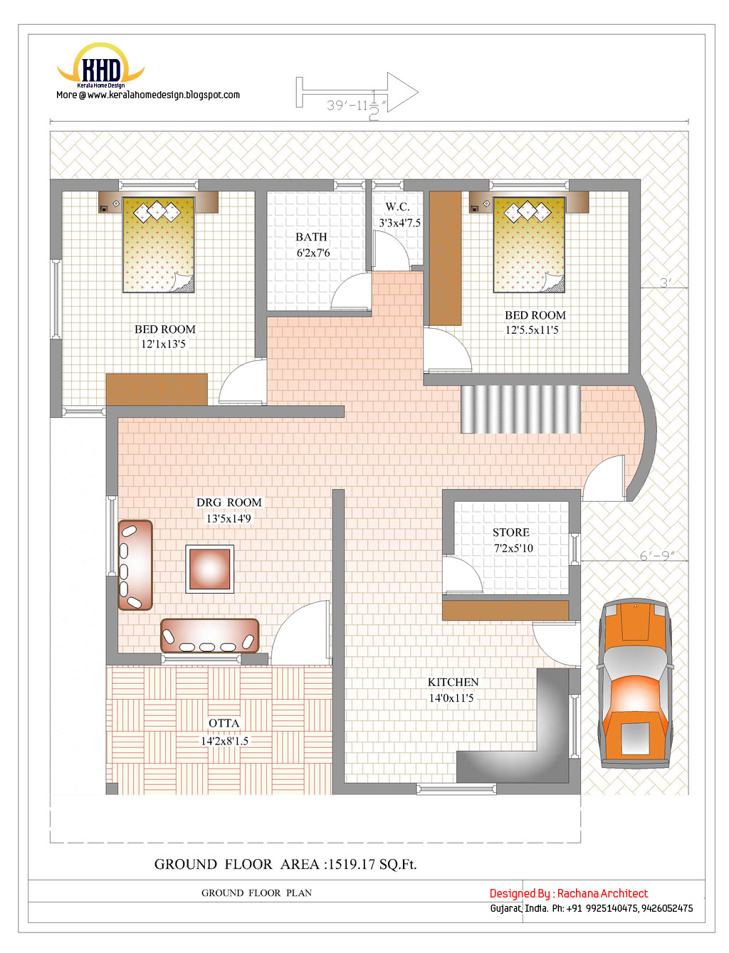Duplex house plan and elevation 2878 sq ft home for Duplex layout plan