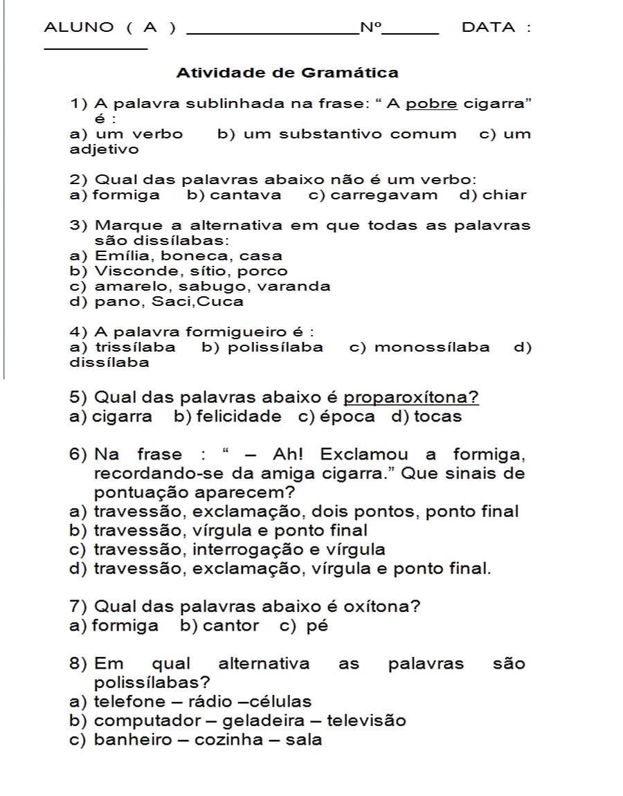 Populares PORTUGUÊS GRAMÁTICA 5° AN0 - 70 ATIVIDADES EXERCÍCIOS P/ IMPRIMIR  QN28
