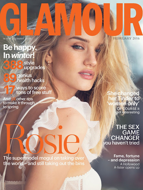 Actress, Model, @ Rosie Huntington Whiteley by David Bellemere for Glamour UK, February 2016