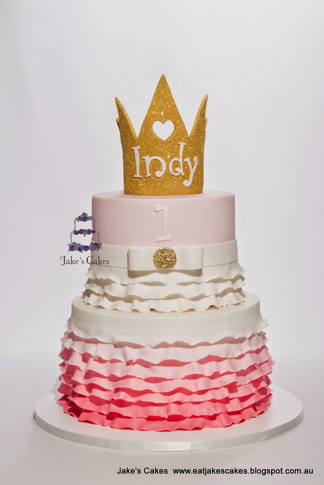Jakes Cakes Gold Glitter Crown And Pink Ombre 1st Birthday Cake