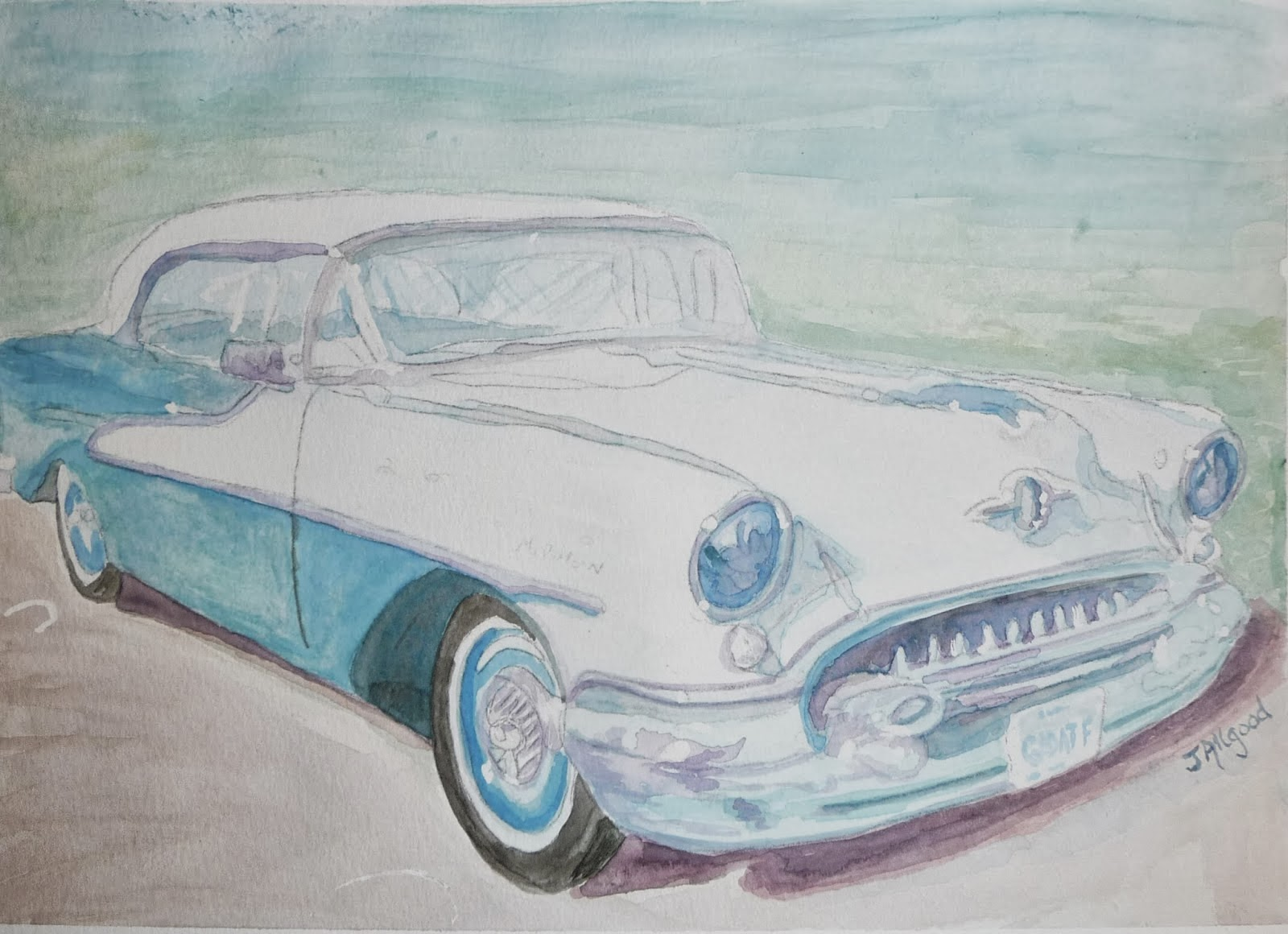 """Old Blue and White Buick"""