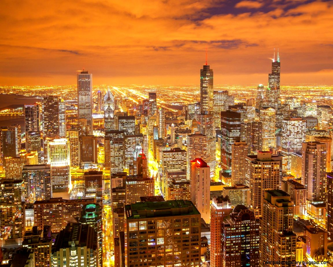 1280x1024 Chicago night city view Wallpaper
