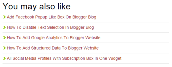 Related Post Widget on Blogger Blog