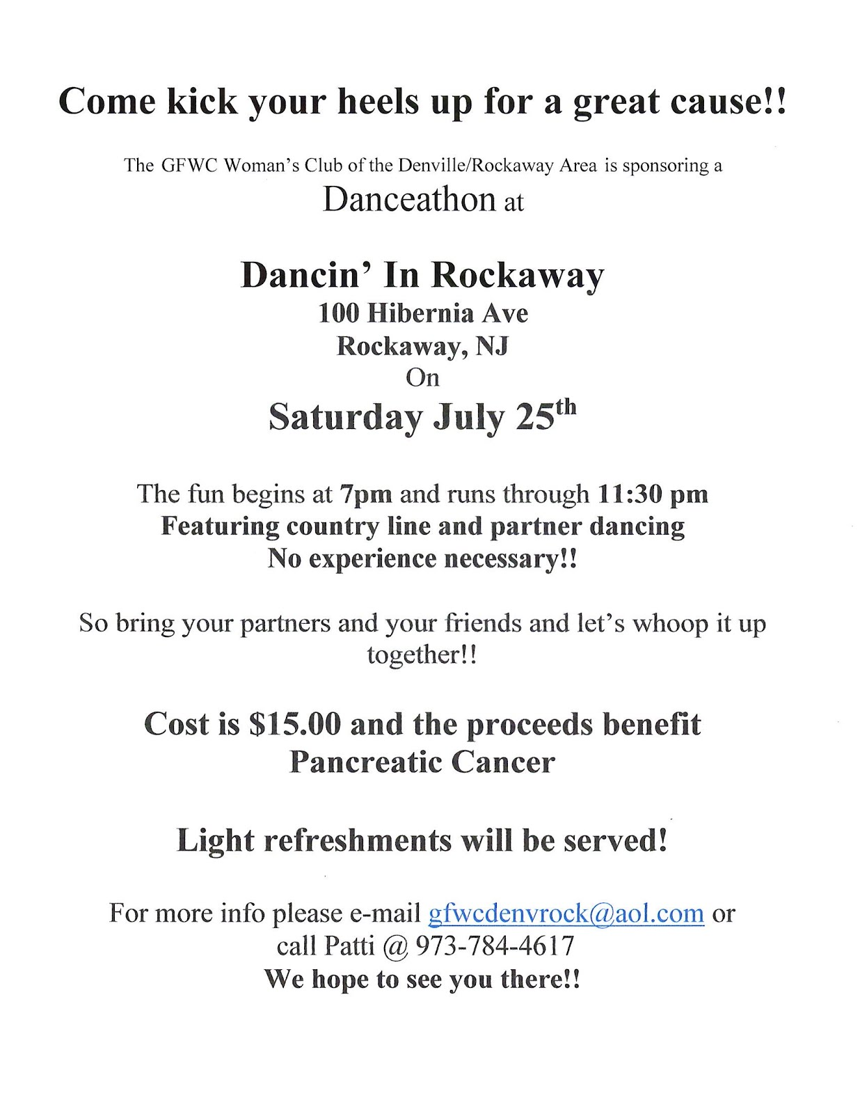 A Night of Dancing July 25th