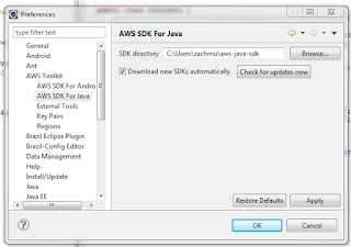 Download AWS SDK for Java And AWS Toolkit for Eclipse