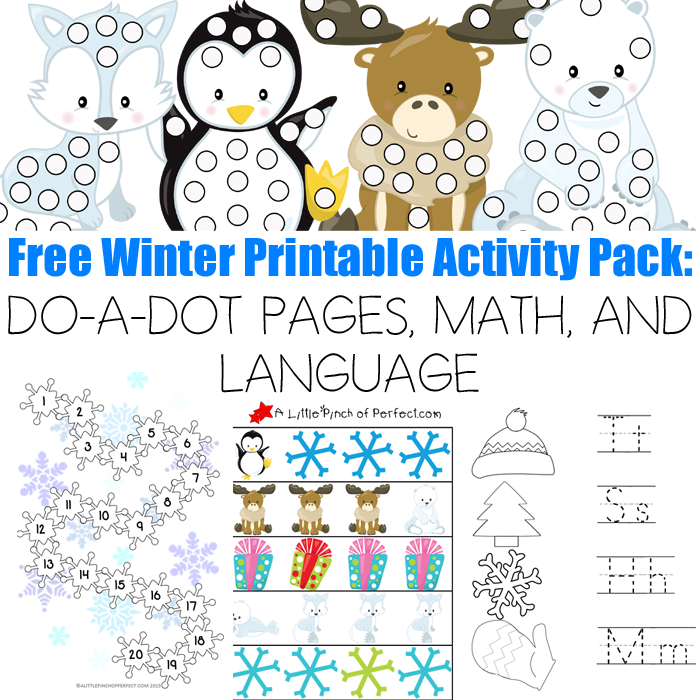 Free Winter Printable Activity Pack: 30 Pages MATH AND LANGUAGE -