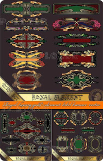 Vector Royal luxury gold element label banner