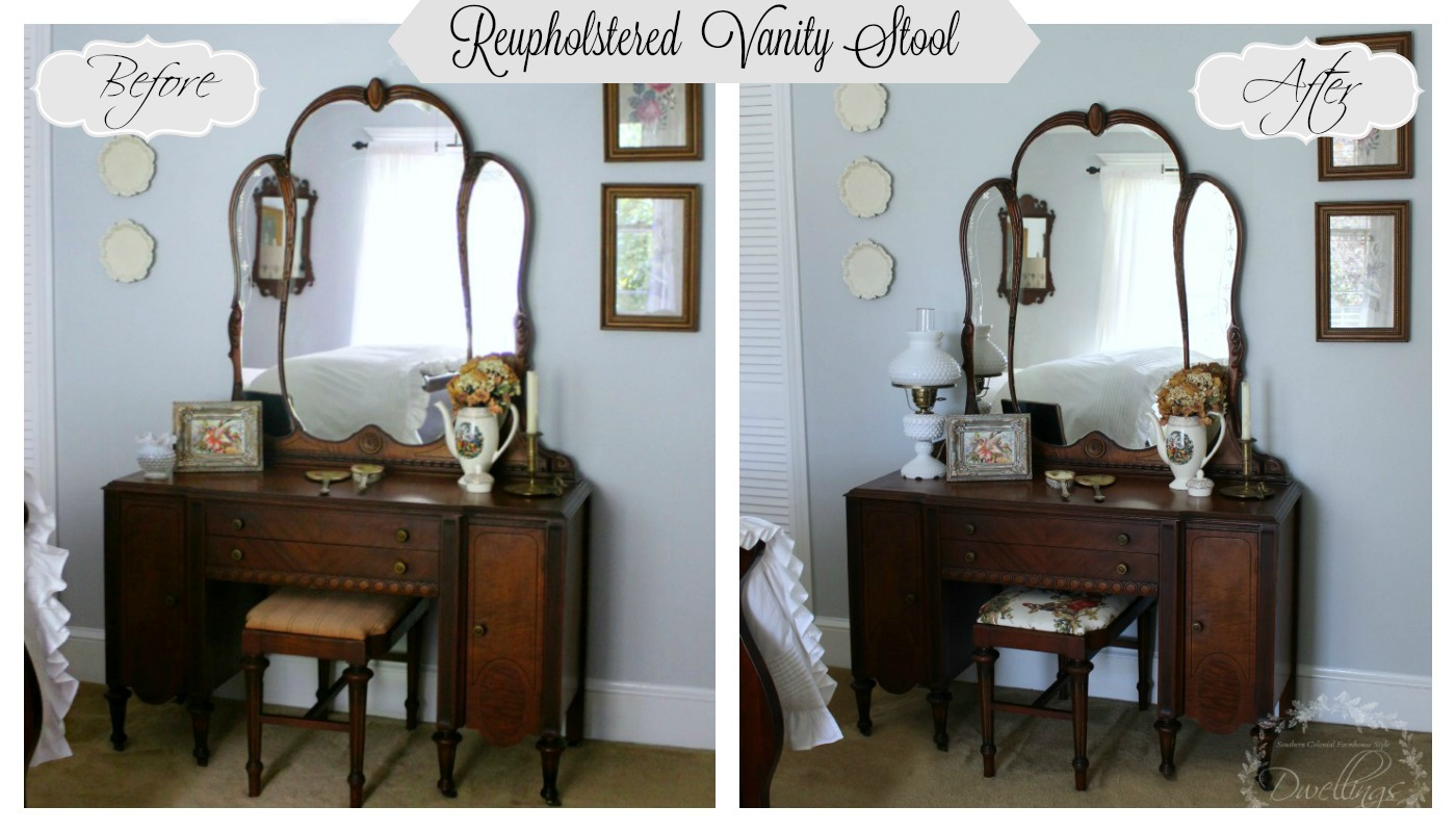 Epic Guest Bedroom Vanity Stool Reupholstered Before u After