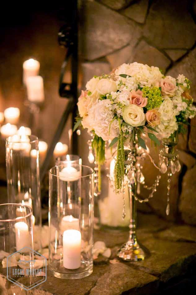 DeLille wedding ceremony, ceremony decor, candles, crystal, Flora Nova Design