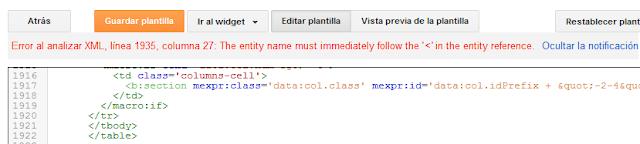 ¿Solución error de análisis en el XML de la plantilla de Blogger? Error al analizar XML ( < )