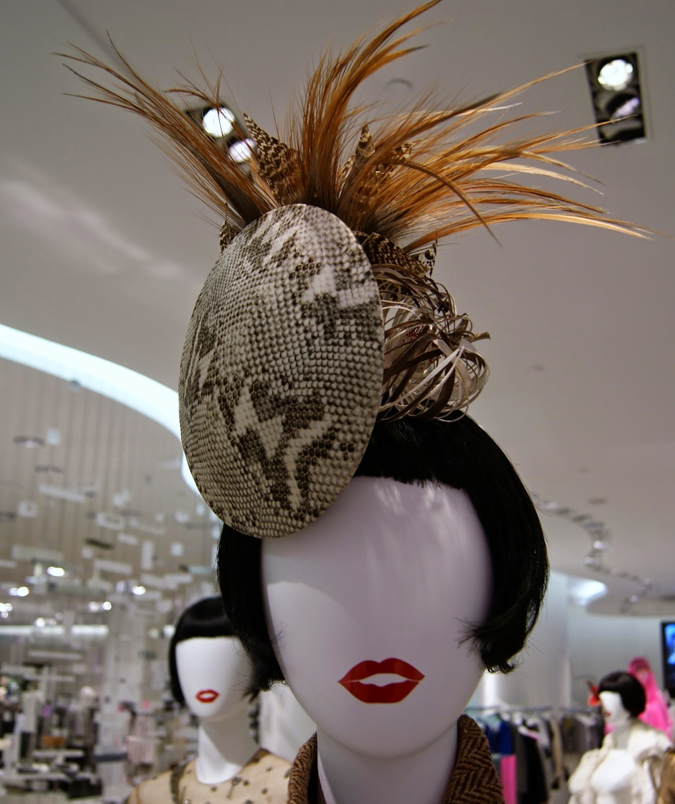 Fashion Blows Exhibit at Hudson's Bay in Toronto, Isabella, Daupne Guinness, Style, Culture, foundation, aleander mcqueen, philip treacy, suicide,the purple scarf, melanie.ps, ontario, canada, the room, Phiip Treacy, snakeskin, dome, hat
