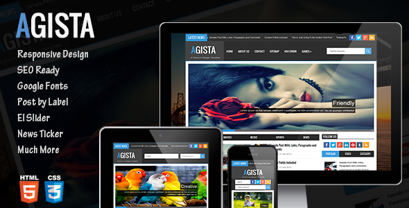 Free Download Agista Responsive Blogger Template