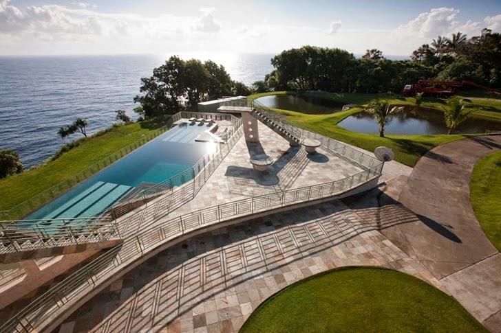 Swimming pool in an Impressive Waterfall House in Hawaii