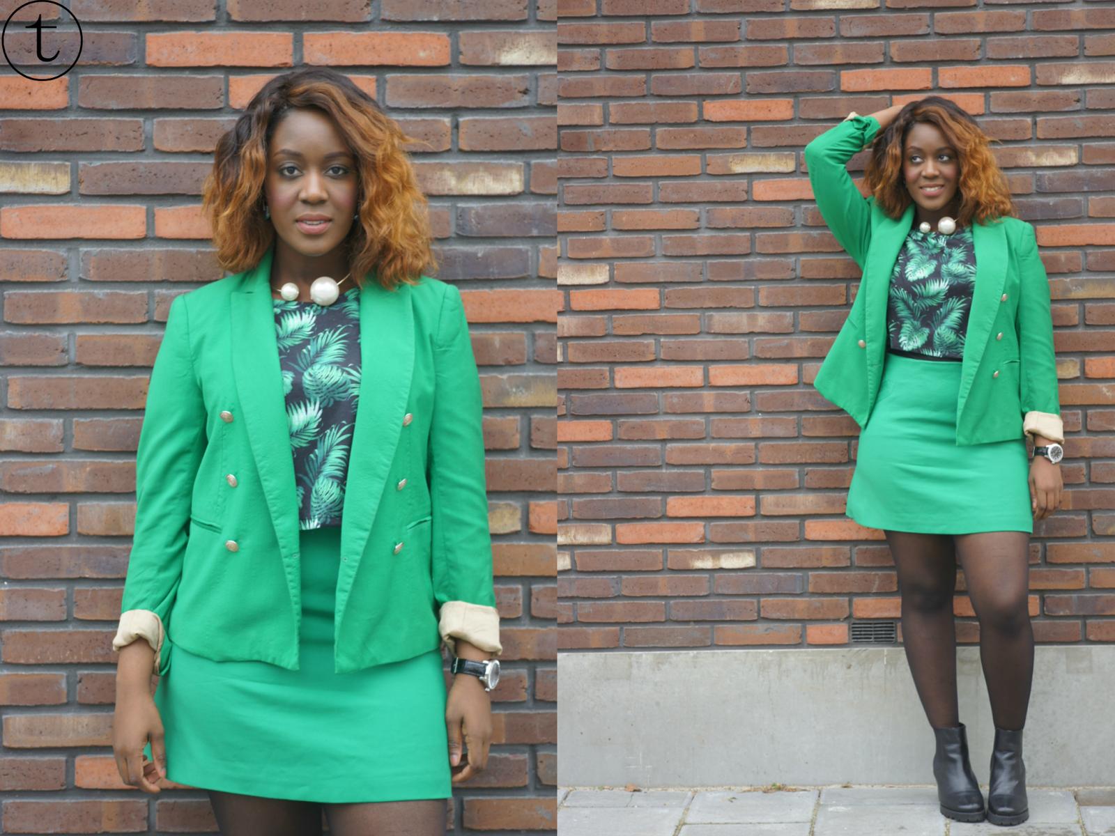 green zara skirt green zara blazer